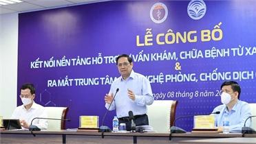 Thủ tướng Phạm Minh Chính dự lễ công bố kết nối nền tảng hỗ trợ tư vấn khám, chữa bệnh từ xa
