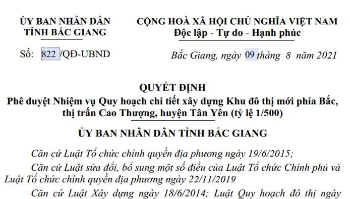 Thị trấn Cao Thượng có thêm khu đô thị mới hơn 20 ha