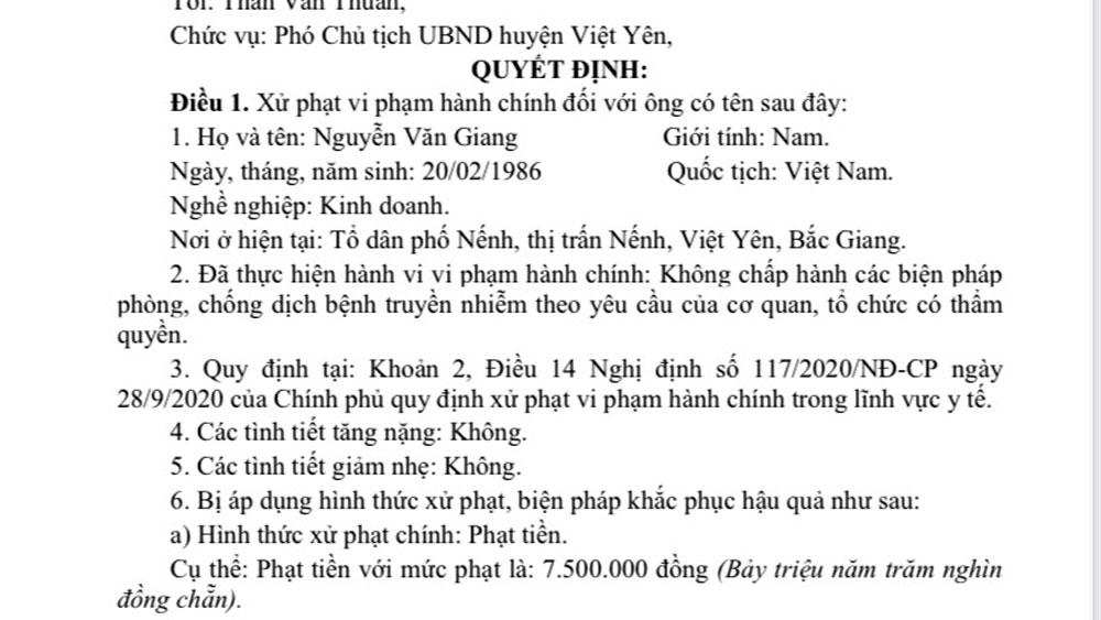 Bắc Giang, Việt Yên, xử phạt phòng dịch, vi phạm phòng dịch Covid-19, Dịch Covid-19