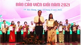 Thí sinh Phạm Thị Thuận giành giải Nhất hội thi báo cáo viên giỏi TP Bắc Giang