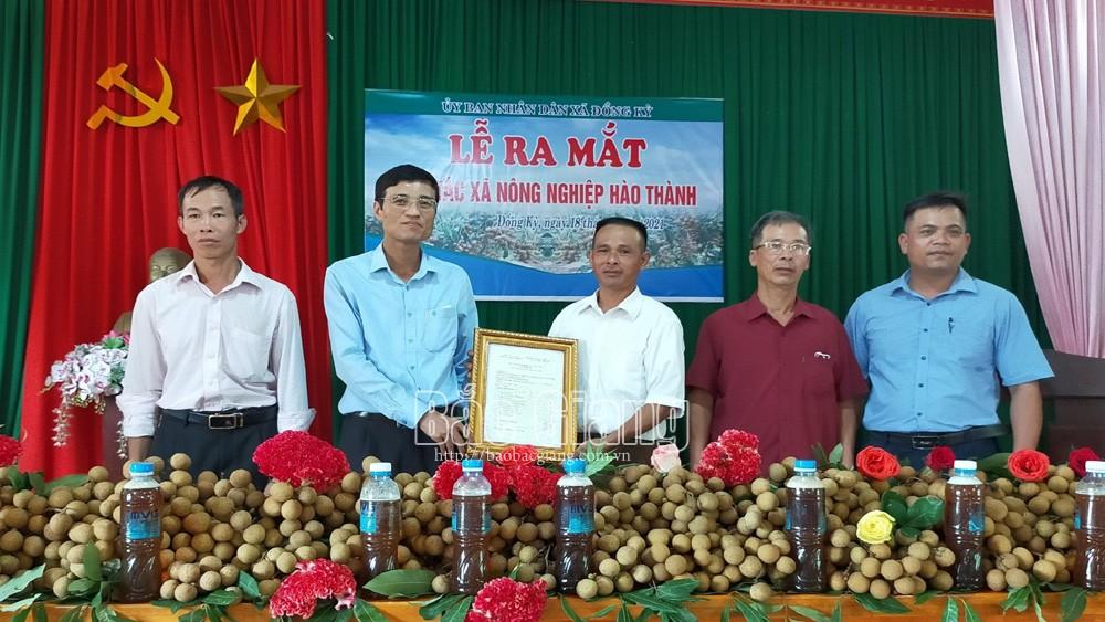 Bí thư Huyện ủy Yên Thế Bùi Thế Chung trao quyết định thành lập HTX Nông nghiệp Hào Thành.