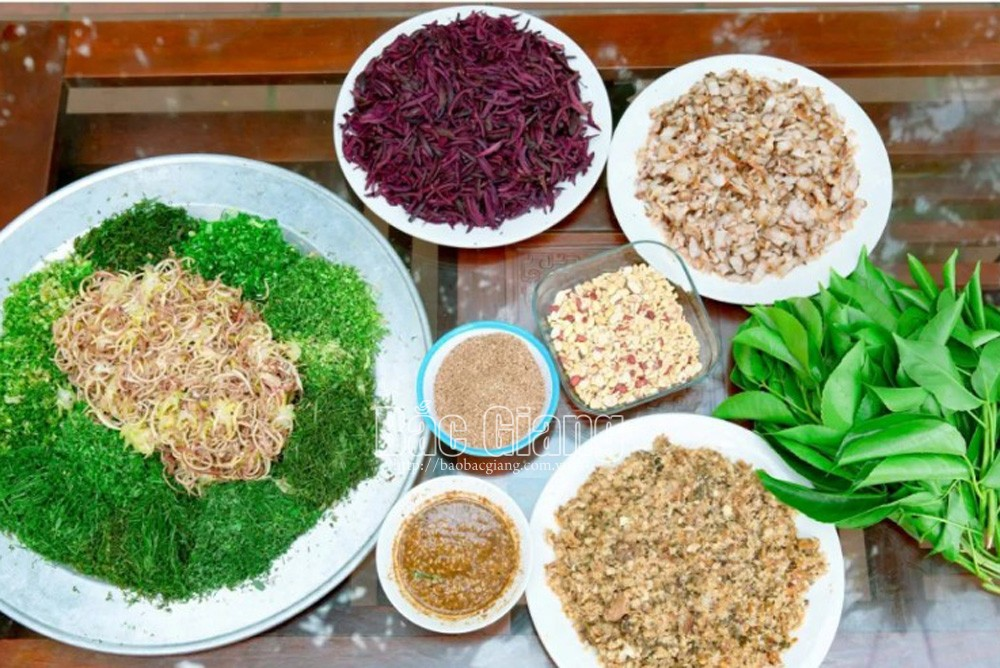 Black canarium salad, a mouth-watering dish in Hiep Hoa