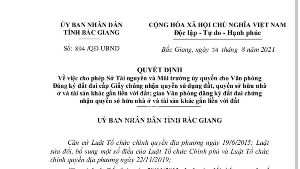 """Bắc Giang: Văn phòng Đăng ký đất đai được ủy quyền cấp """"sổ đỏ"""""""