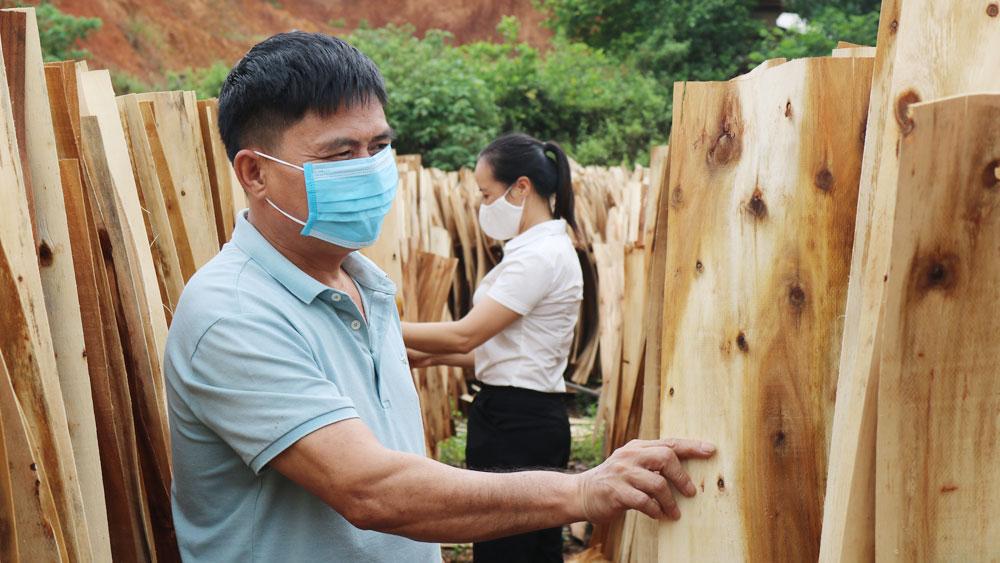 Anh Phùng Văn Luận, thôn Bãi Gạo, xã Vô Tranh kiểm tra sản phẩm gỗ bóc của gia đình.