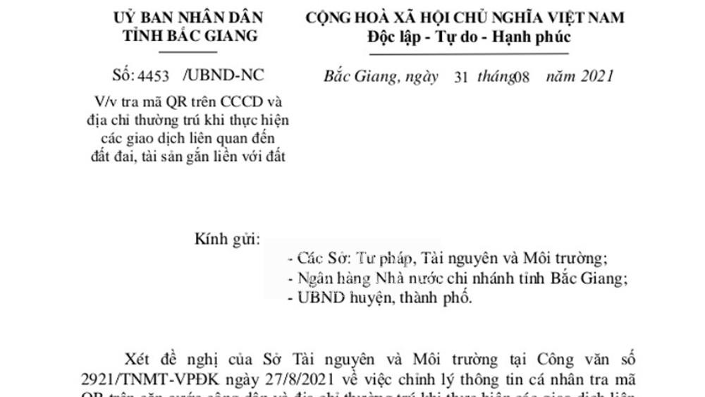Bắc Giang: Tra mã QR khi thực hiện giao dịch liên quan đến đất đai