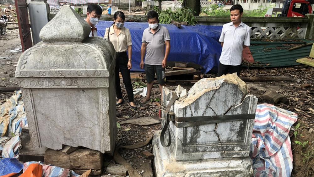 Bia đá , chùa Thổ Hà, Việt Yên vỡ, Sở VHTTD Bắc Giang, khắc phục sự cố, Ban Quản lý dự án đầu tư xây dựng Việt Yên,