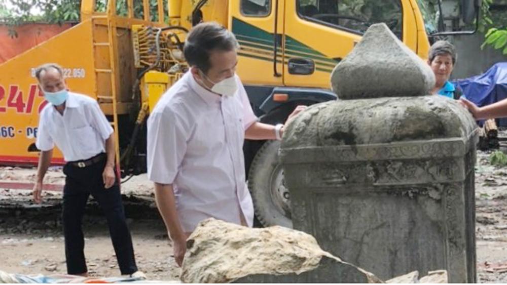 Bắc Giang: Khẩn trương phục hồi bia đá 342 năm ở chùa Thổ Hà