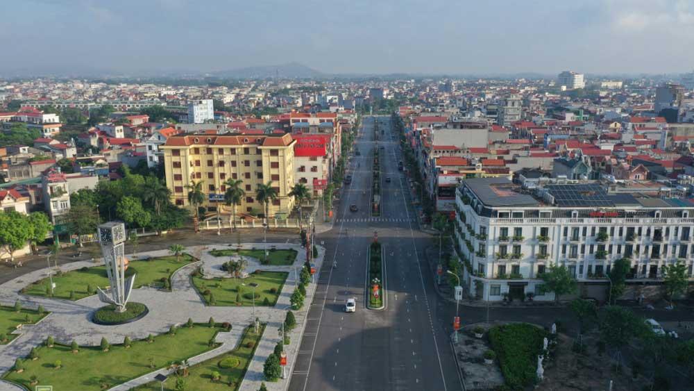 Khu vực đường Hùng Vương, TP Bắc Giang. Ảnh: Ngọc Thành