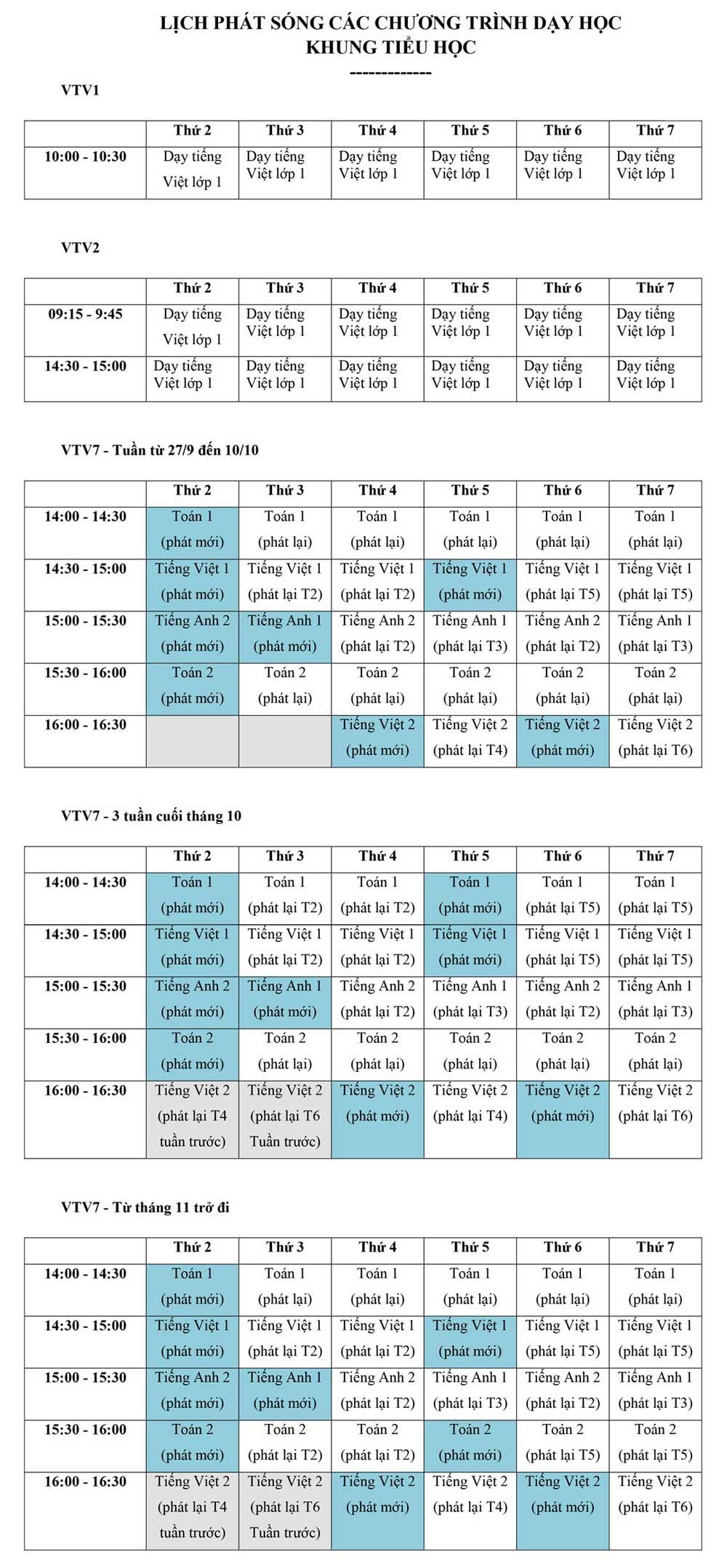 Ba kênh truyền hình quốc gia, phát sóng, bài giảng lớp 1, lớp 2