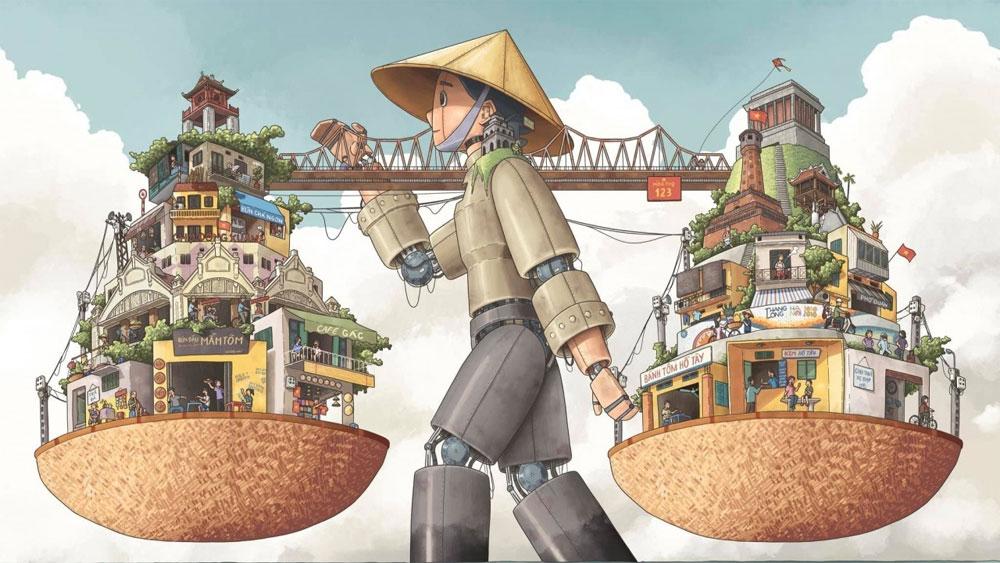 Ha Noi rong, first prize, UNESCO, Hanoi illustration contest, Hanoi's street vendors, Dang Thai Tuan, Creative City