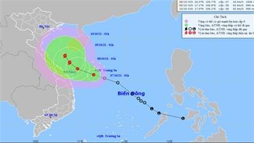 Áp thấp nhiệt đới giật cấp 8 hướng vào Quảng Trị đến Quảng Ngãi