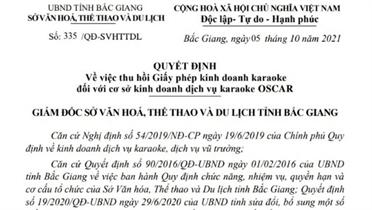 Thu hồi giấy phép cơ sở kinh doanh dịch vụ karaoke OSCAR