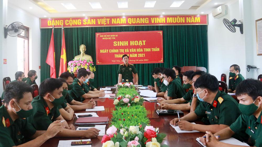 Ngày chính trị và văn hóa tinh thần ở Ban CHQS huyện Việt Yên