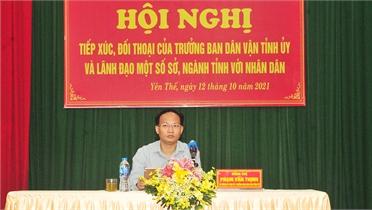 Trưởng Ban Dân vận Tỉnh ủy Phạm Văn Thịnh tiếp xúc, đối thoại với nhân dân Yên Thế
