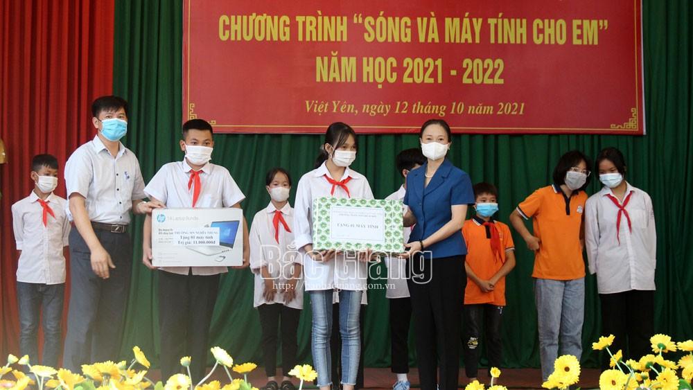 Bắc Giang, giáo dục, Việt Yên, sóng và máy tính cho em