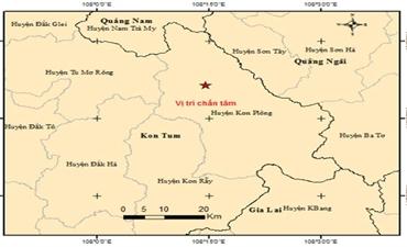 Xảy ra động đất tại huyện Kon Plông (tỉnh Kon Tum)