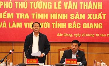 Phó Thủ tướng Lê Văn Thành: Nhân rộng mô hình phòng chống dịch, khôi phục sản xuất của Bắc Giang