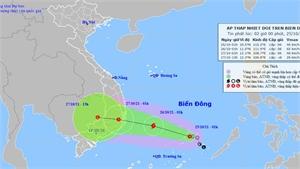 Trong 24 giờ tới, áp thấp nhiệt đới có khả năng mạnh thành bão